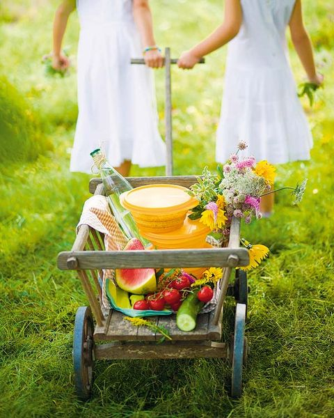 Dress, People in nature, Waist, Spring, One-piece garment, Day dress, Peach, Bouquet, Ceremony, Fruit,
