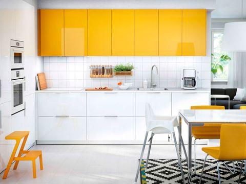 Yellow, Room, Interior design, Property, Floor, Orange, White, Kitchen appliance, Furniture, Line,