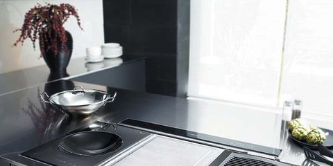 Room, Flowerpot, Cooktop, Kitchen stove, Major appliance, Grey, Kitchen, Kitchen appliance, Kitchen appliance accessory, Gas stove,
