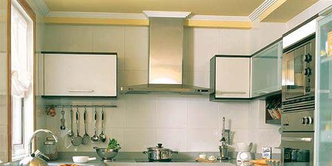 Room, Green, White, Interior design, Floor, Kitchen, Drawer, Cabinetry, Plumbing fixture, Flooring,