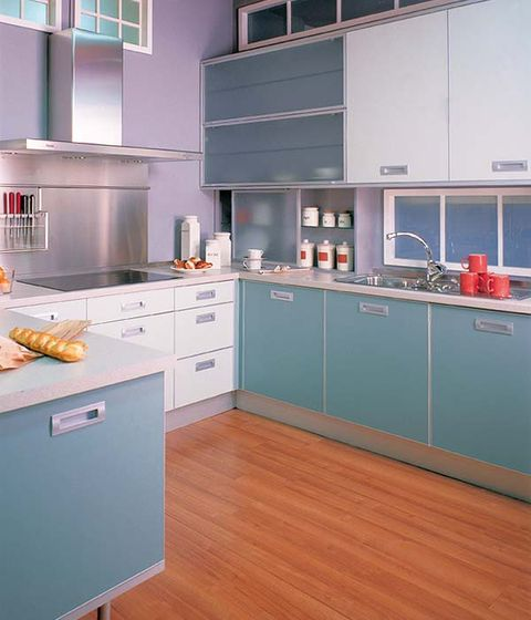 Wood, Room, Green, Floor, White, Drawer, Flooring, Kitchen, Cabinetry, Line,