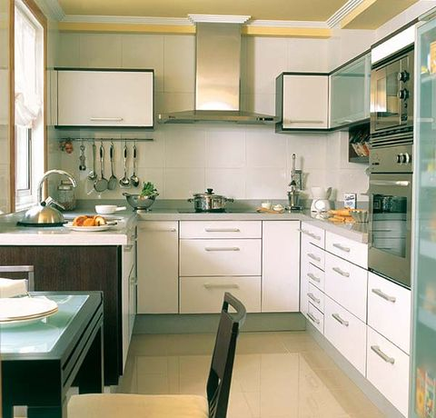 Room, Green, White, Interior design, Floor, Kitchen, Drawer, Cabinetry, Plumbing fixture, Flooring,