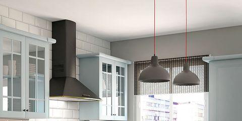 Room, Floor, Green, Interior design, White, Drawer, Ceiling, Furniture, Kitchen, Countertop,