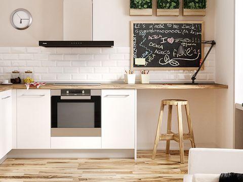 Room, Wood, Floor, Flooring, Blackboard, Kitchen, Cabinetry, Kitchen appliance, Major appliance, Grey,