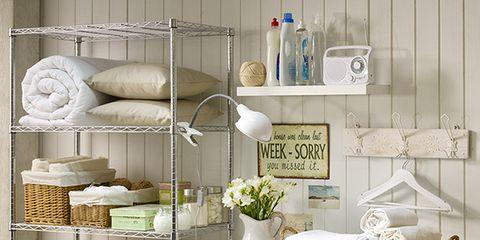Washing machine, Shelving, Clothes dryer, Grey, Major appliance, Shelf, Dishware, Laundry room, Circle, Porcelain,