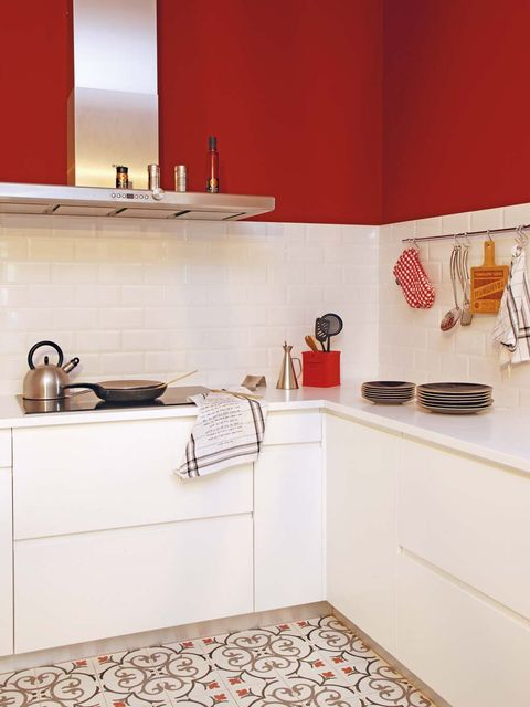Room, Property, Furniture, Red, Interior design, Kitchen, Orange, Tile, Yellow, Floor,