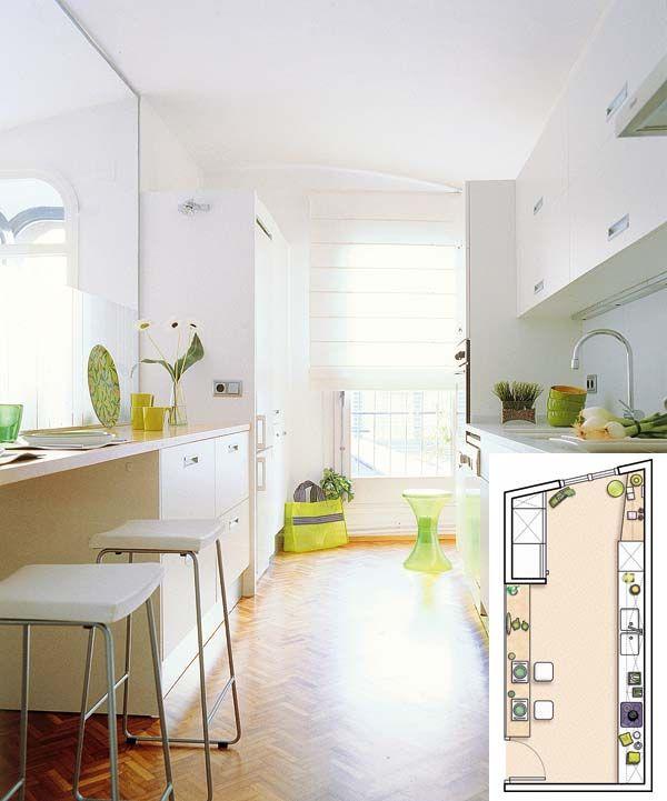 Planifica bien el espacio de tu cocina: ejemplos con planos