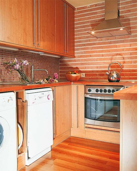 Wood, Room, Floor, Property, Major appliance, Kitchen appliance, Flooring, Hardwood, Wood stain, Kitchen,