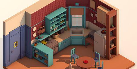 House, Illustration, Room, Architecture, Playset, Home, Building, Interior design, Furniture, Art,