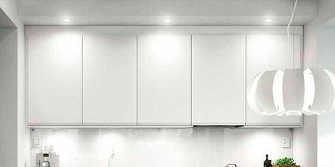 Room, Floor, Interior design, White, Table, Kitchen, Flooring, Light fixture, Kitchen appliance, Major appliance,