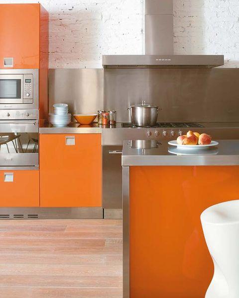 Room, Kitchen, Orange, Home appliance, Major appliance, Serveware, Kitchen appliance, Countertop, Dishware, Grey,