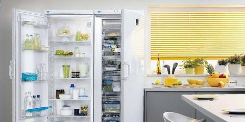 Room, Major appliance, Interior design, Floor, Window covering, Tile, Freezer, Window blind, Plumbing fixture, Kitchen,
