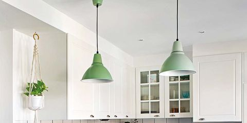 Countertop, Kitchen, Room, Furniture, Green, Cabinetry, Interior design, Property, Ceiling, Building,