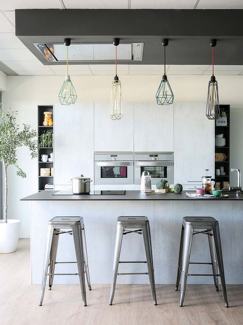 Furniture, White, Room, Kitchen, Interior design, Countertop, Bar stool, Table, Stool, Lighting,