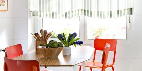 Room, Floor, Interior design, Wood, Flooring, Furniture, Chair, Table, Orange, Interior design,