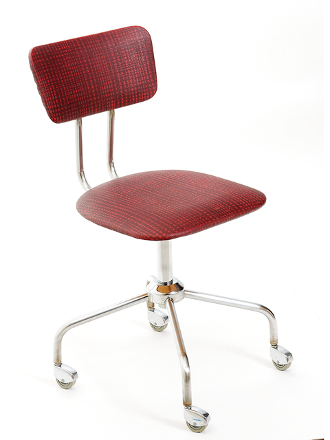 Product, Red, Chair, Maroon, Metal, Material property, Armrest, Design, Still life photography, Silver,