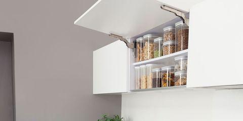 Room, Interior design, Wall, White, Shelving, Interior design, Fixture, Kitchen stove, Kitchen, Home,