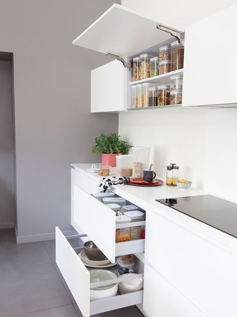 Room, Property, Interior design, White, Wall, Home, Floor, House, Kitchen, Shelving,