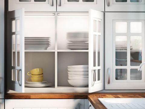 Serveware, Dishware, White, Shelving, Grey, Shelf, Porcelain, Pottery, Parallel, Rectangle,