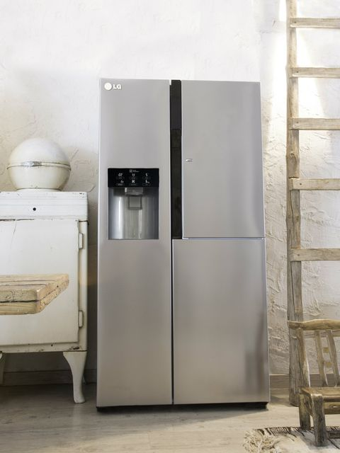Major appliance, Kitchen appliance, Home appliance, Machine, Refrigerator, Kitchen appliance accessory, Freezer, Gas, Aluminium, Silver,