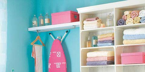 Blue, Room, Shelving, Shelf, Teal, Wall, Turquoise, Plumbing fixture, Aqua, Collection,