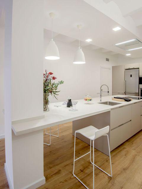 Floor, Room, Flooring, Wood, Interior design, Countertop, Ceiling, Wall, Light fixture, Table,