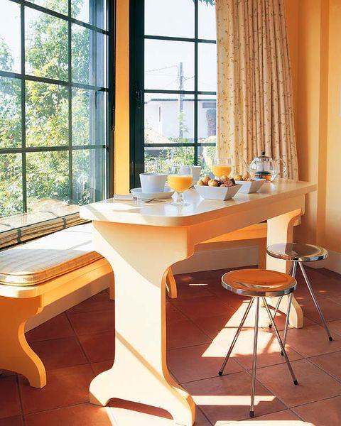 Room, Interior design, Glass, Table, Furniture, Daylighting, Fixture, Curtain, Interior design, Hardwood,