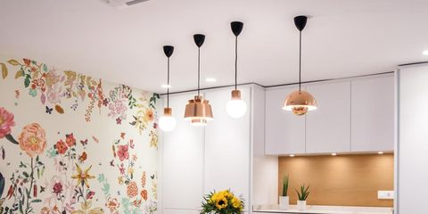 Room, Interior design, Floor, Lighting, Flooring, Table, Furniture, Wall, Ceiling, Light fixture,