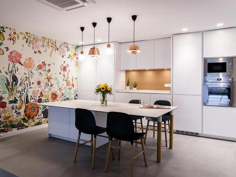 Floor, Room, Lighting, Interior design, Flooring, Table, Wall, Ceiling, Furniture, Light fixture,