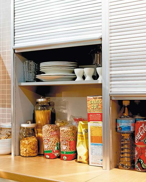 Food, Shelving, Food storage containers, Shelf, Food storage, Convenience food, Home accessories, Pantry, Lid, Gluten,