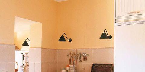 Room, Interior design, Table, Floor, Interior design, Light fixture, Picture frame, Peach, Dining room, Plywood,
