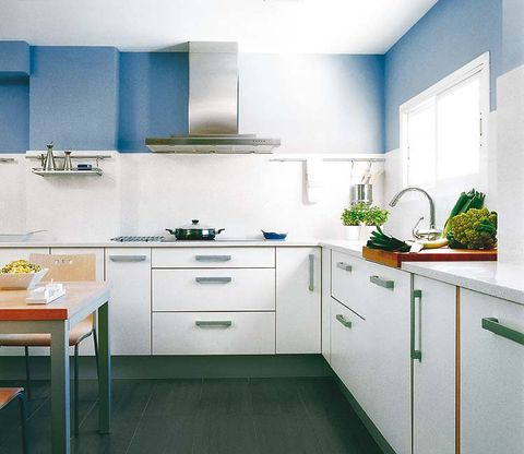 Green, Blue, Room, Interior design, Floor, White, Kitchen, Flooring, Home, Drawer,