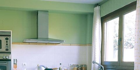 Tablecloth, Room, Green, Interior design, Furniture, Kitchen, Kitchen appliance, Major appliance, Linens, Cabinetry,