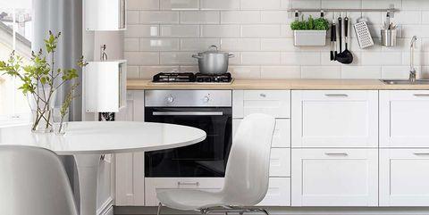 cocina blanca con comedor redondo