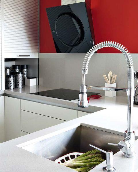 Room, Plumbing fixture, Sink, Kitchen, Grey, Kitchen sink, Material property, Tap, Kitchen appliance accessory, Interior design,