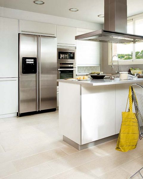Countertop, Room, Kitchen, Floor, Cabinetry, Furniture, Property, Interior design, Major appliance, Refrigerator,