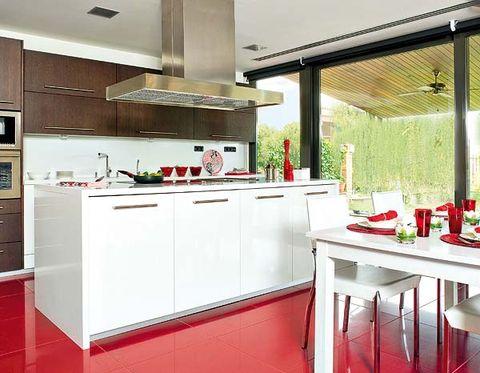 Room, Interior design, Red, White, Kitchen, Kitchen appliance, Ceiling, Floor, Home appliance, Major appliance,