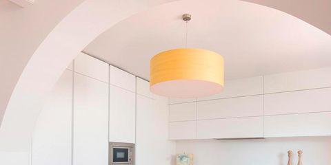 Floor, Room, Interior design, Wood, Flooring, Orange, Ceiling, Table, Furniture, Light fixture,