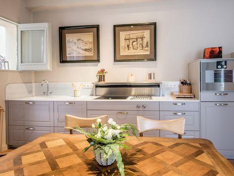 Room, Furniture, Countertop, Kitchen, Property, Cabinetry, Interior design, Floor, Building, Home,