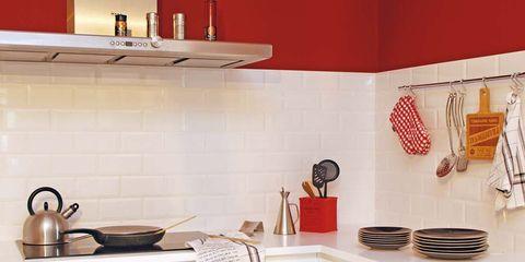 Una Cocina En Blanco Y Rojo - Cocinas-en-rojo