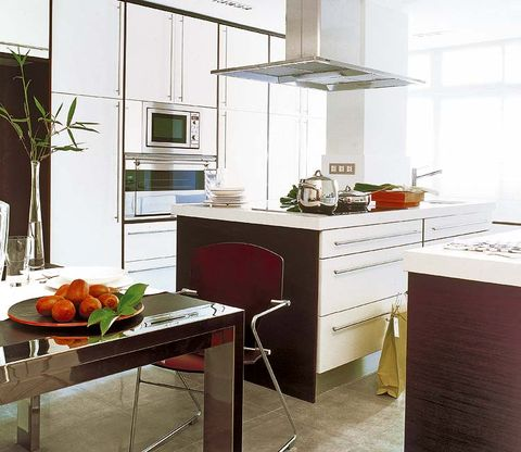 Room, Interior design, Major appliance, House, Kitchen appliance, Kitchen, Produce, Cabinetry, Home appliance, Natural foods,
