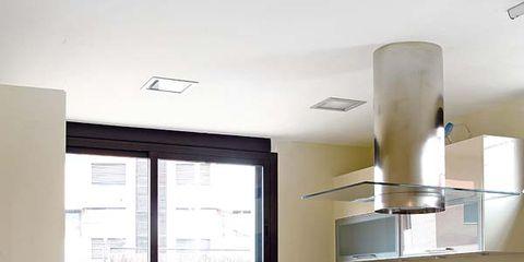 Green, Room, Interior design, Floor, Flooring, Kitchen, Kitchen appliance, Home appliance, House, Light fixture,