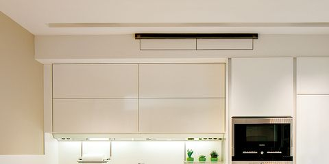 Countertop, White, Room, Kitchen, Cabinetry, Furniture, Interior design, Property, Green, Sink,