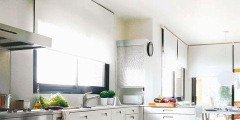 Room, Floor, Green, Interior design, Property, Flooring, White, Kitchen, Countertop, Major appliance,