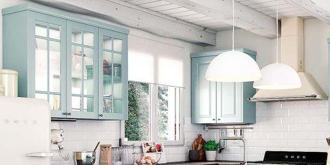 Blue, Room, Floor, Green, Property, Interior design, White, Kitchen, Flooring, Line,