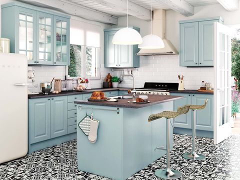 Blue, Room, Green, Floor, Property, Interior design, Major appliance, Kitchen appliance, White, Kitchen,