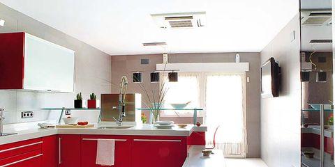 Room, Interior design, Property, Floor, Red, White, Kitchen, House, Flooring, Ceiling,