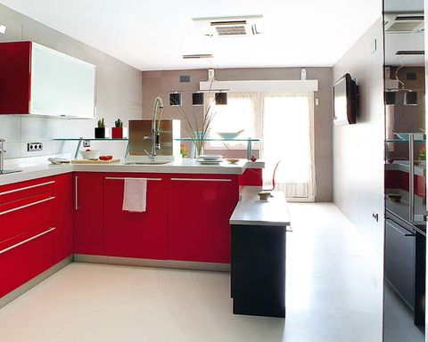 Room, Interior design, Property, Floor, Red, White, Kitchen, House, Flooring, Ceiling,