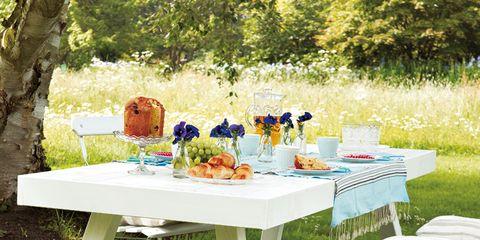 Table, Furniture, Outdoor furniture, Outdoor table, Tablecloth, Linens, Picnic, Home accessories, Picnic table, Garden,