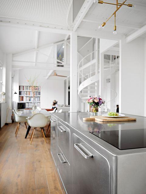 Room, White, Furniture, Interior design, Kitchen, Ceiling, Property, Floor, Countertop, Building,